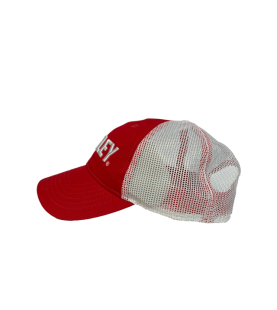 ELEY Red Snapback cap side view