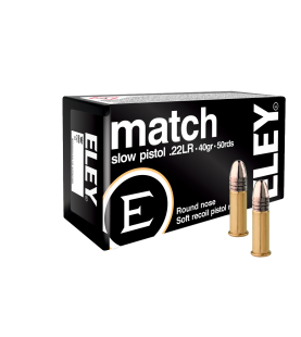 ELEY match slow pistol rimfire cartridges