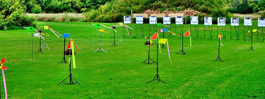 Wind flags blowing on the shooting range